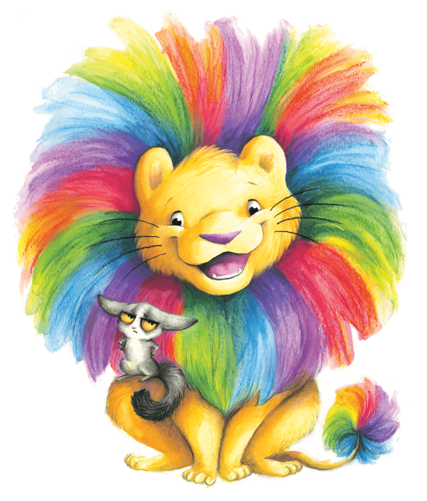 Illustrated Guion the Lion character with colorful mane