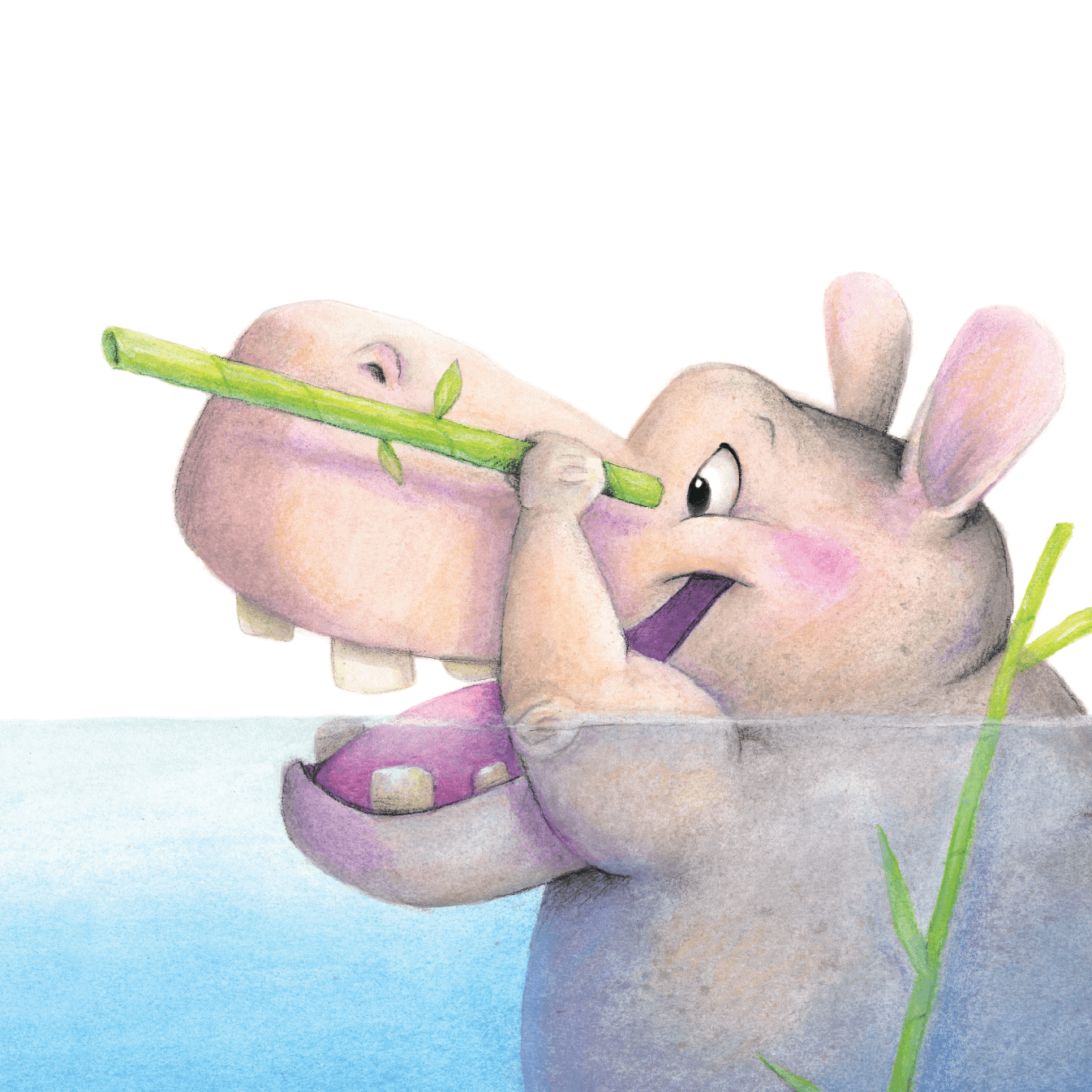 illustrated Hoke the Hippo looking through a bamboo telescope